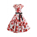 Formal White Short Sleeve Crew Neck Bow Tie Waist All Over Floral Zip Back Midi Pleated Swing Dress for Girls