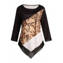 Basic Women's Long Sleeve Round Neck Snake Patterned Contrasted Asymmetric Hem Loose Fit Tee