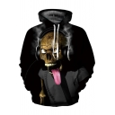 Fancy Skull Joker 3D Printed Drawstring Hood Long-Sleeved Pullover Hoodie