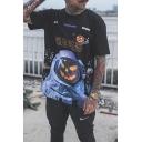 Halloween Pumpkin Astronaut Chinese Letter Print Short Sleeves Loose Black T-Shirt