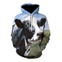 3D Cow Printed Long Sleeves Relaxed Loose Men's Pullover Hoodie