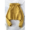 Trendy Plain Long Sleeve Drawstring Flap Pocket Relaxed Fit Hoodie for Girls