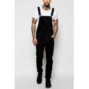 New Arrival Plain Black Side Button Embellished Slim Fit Denim Jumpsuits Bib Overalls