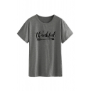 Women's Casual Short Sleeve Crew Neck Letter THANKFUL Arrow Print Relaxed Tee