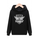 Classic Badge Letter OWL POST SERVICE Printed Long Sleeves Casual Hoodie with Pocket