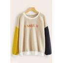 Stylish Letter I MISS YOU Print Colorblocked Long Sleeve Relaxed Loose Teddy Bear Sweatshirt