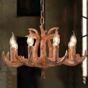 8 Lights Exposed Chandelier Light Fixture Traditional Style Wood Resin Hanging Lamp with Antlers Design