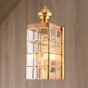 Metal Gold Sconce Light Fixture Rectangle 1/2-Head Traditional Wall Mount Lamp for Living Room
