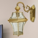 Traditional Lantern Sconce Light 1-Bulb Metal Brass Wall Lighting Fixture for Living Room