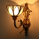 Brass 1/2-Head Wall Lighting Traditional Metal Scalloped Wall Mounted Light for Porch