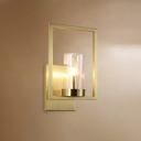 Brass Cylindrical Wall Sconce Contemporary 1 Bulb Clear Glass Wall Light Fixture with Frame