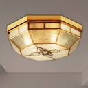 4/6 Lights Flushmount Lighting Traditional Geometric Frosted Glass Pane Ceiling Flush Mount in Gold, 19.5