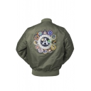 Mens Popular Letter A NASA Embroidery Applique Long Sleeve Zip Up MA-01 Bomber Jacket