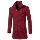 Metrosexual Men's Classic Houndstooth Print Long Sleeve Single Breasted Woolen Overcoat