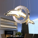 Dolphin Chandelier Lamp Modernist Cut Crystal LED Chrome Ceiling Hanging Light in White/Warm/Neutral Light