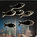 Fish Crystal Pendant Chandelier Modernism LED Chrome Hanging Ceiling Light in White/Warm Light