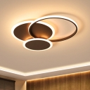 Acrylic Circle Ceiling Lamp Minimalist LED Flush Mount Light in Coffee, 19.5