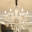 Candle Chandelier Light Fixture Modern Beveled Glass Crystal 6 Bulbs White Ceiling Pendant Light for Living Room