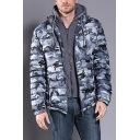 Mens Simple Camo Printed Long Sleeve Zip Up Slim Fit Leisure Puffer Jacket