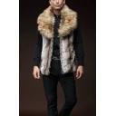 Winter Warm Brown Sleeveless Lapel Collar Open Front Slim Fit Faux Fur Waistcoat for Men
