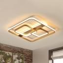 Square Flush Light Postmodern Acrylic Gold LED Ceiling Mounted Light in Warm/White Light