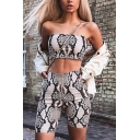 Womens Sexy Fashion Snakeskin Pattern Sexy Tube Top with Shorts Brown Two Piece Co-ords