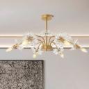 Postmodern Starburst Chandelier Lighting Crystal 6 Heads Bedroom Hanging Lamp in Gold