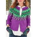 Unique Pretty Ladies' Long Sleeve Round Neck Geo Printed Button Down Plain Crop Relaxed Fair Isle Sweater
