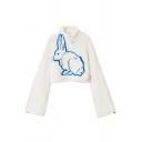 Cute Girls' Bell Sleeve High Neck Rabbit Patterned Half Zip Venonat Decoration Fluffy Loose Crop Boyfriend Sweatshirt in White
