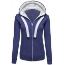 New Stylish Long Sleeve Zip Up Slim Fit Drawstring Hoodie for Women