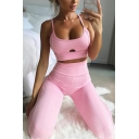 Womens Simple Pink Scoop Neck Hollow Out Crop Cami Tank with Sweatpants Skinny Co-ords
