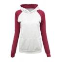 Womens Leisure Color Block Patchwork Long Sleeve Slim Fit Pullover Hoodie