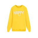 Yellow Leisure Cute Long Sleeve Crew Neck Letter HAPPY Print Boxy Pullover Sweatshirt for Girls