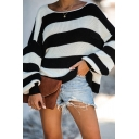 Fashion Street Girls' Balloon Sleeve Drop Shoulder Stripe Printed Waffle Knit Loose Fit Pullover Sweater in Black