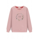 Girls' Casual Basic Long Sleeve Round Neck Letter LITTLE WREN Cartoon Printed Relaxed Daily Pullover Sweatshirt