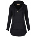 Ladies Popular Solid Color V-Neck Long Sleeve Loose Fit Tunic Drawstring Hoodie