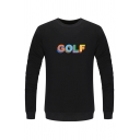 Unisex Simple Letter GOLF Printed Long Sleeve Round Neck Pullover Sweatshirt