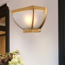 Torch Opaque Glass Flush Wall Light Retro 1 Head Wall Mounted Lamp Kit with Brass Golden Edge