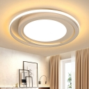 Circle Metal Ceiling Light Minimalist White/Black LED Flush Light Fixture in Remote Control Stepless Dimming/Warm/White Light, 18