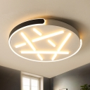 Disk Metal Flush Mount Light Modern Black-White/White-Gold LED Ceiling Lighting in Remote Control Stepless Dimming/Warm/White Light, 18