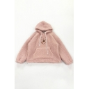 Lovely Cartoon Bear Face Printed Long Sleeve Boxy Sherpa Drawstring Hoodie
