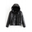 Cool Black Long Sleeve Hooded Drawstring Zipper Front Leather Thick Loose Puffer Jacket for  Girls