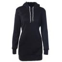 Classic Women's Long Sleeve Drawstring Slim Fit Pockets Side Midi Fitted Hoodie in Black