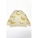 Lovely Girls Simple Banana Printed Long Sleeve Round Neck Baggy Pullover Sweater