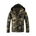 Mens Popular Camouflage Print Long Sleeve Zipper Fitted Hooded Jacket with Pocket