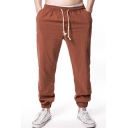 Sport Fashion Plain Drawstring Waist Ankle Banded Pants Loose Trousers for Men