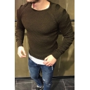 Mens Stylish Plain Raglan Long Sleeve Round Neck Slim Fitted Knit Pullover Sweater