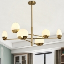 Sputnik Hanging Light Fixture Postmodern Metal 6/8/10 Heads Gold Chandelier Light with Frosted Glass Shade