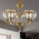 5/9 Heads Dome Chandelier Lighting Colonialist Opal Frosted Glass Hanging Pendant Light in Gold