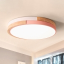 Metal Drum Ceiling Lighting Macaron Blue/Pink/Green LED Flush Mount Fixture with Acrylic Shade in Warm/White Light